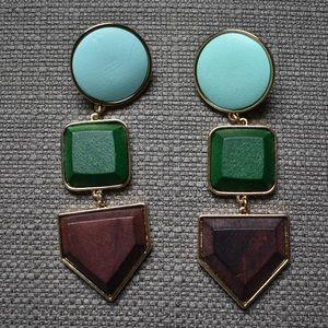 Art Deco Wood Gold Statement Earrings